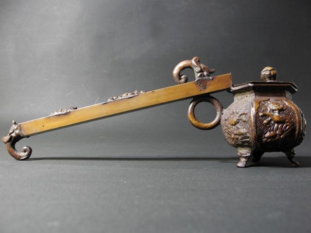 彫刻銅器矢立