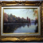 悳俊彦 油彩画「秋の池」