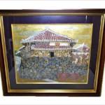 日本画 岡田青慶 沖縄(琉球)の民家の絵 油絵