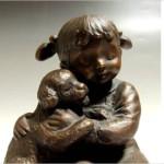 玉野勢三 ブロンズ彫刻像 子犬と少女「なかよし」
