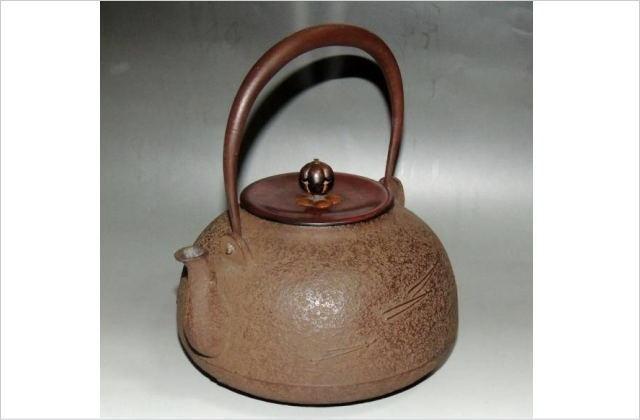 釜師角谷一圭作 松葉地紋時代鉄瓶