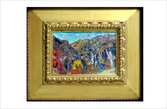 小林和作 「安房峠の秋」油絵